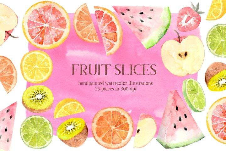 Fruit Slices Watercolor PNG Summer Clipart Set