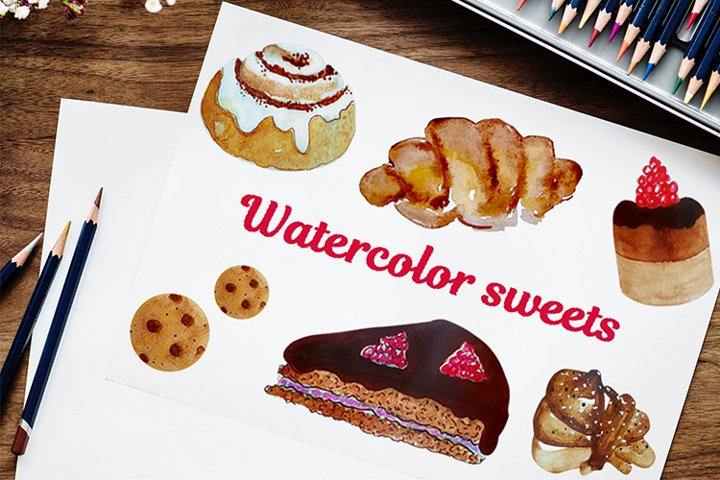 Stickers bundle of watercolor sweets