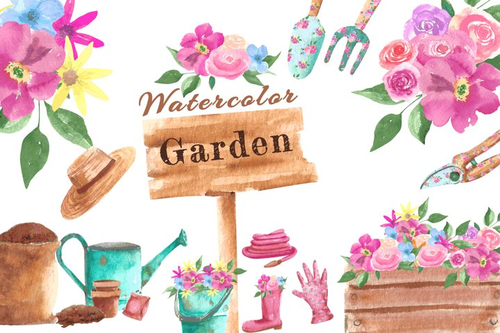 Watercolor flowers and gardening |for spring|for sublimation
