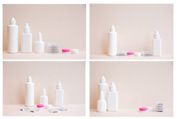 Contact lenses, lens solution and lens containers