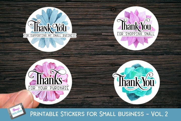 Printable Small Business Stickers Vol 2 - Thank you - Floral