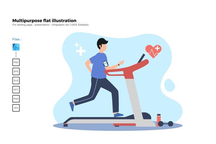 Flat illustration treadmill