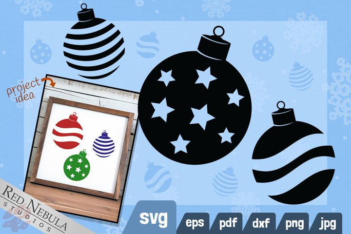 Christmas Ornament SVG   3 Stylized Holiday Clipart Designs