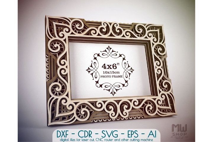 F11 - Multilayer Photo Frame, Laser Cut Photo Frame DXF