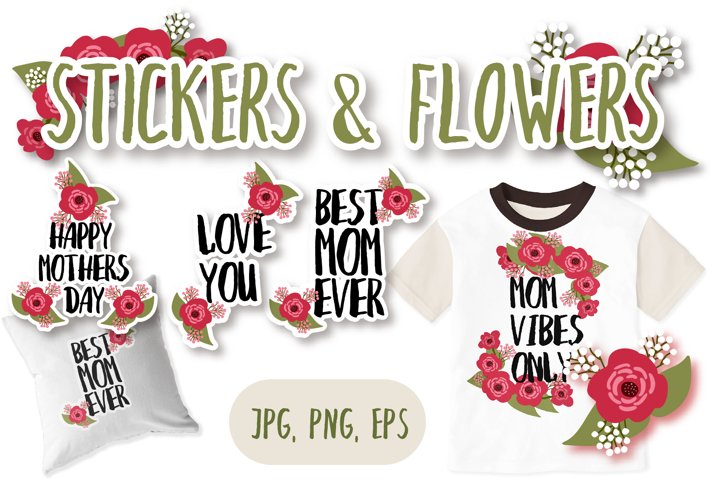 Hand lettering stickers about mom. Best mom ever. Love you.
