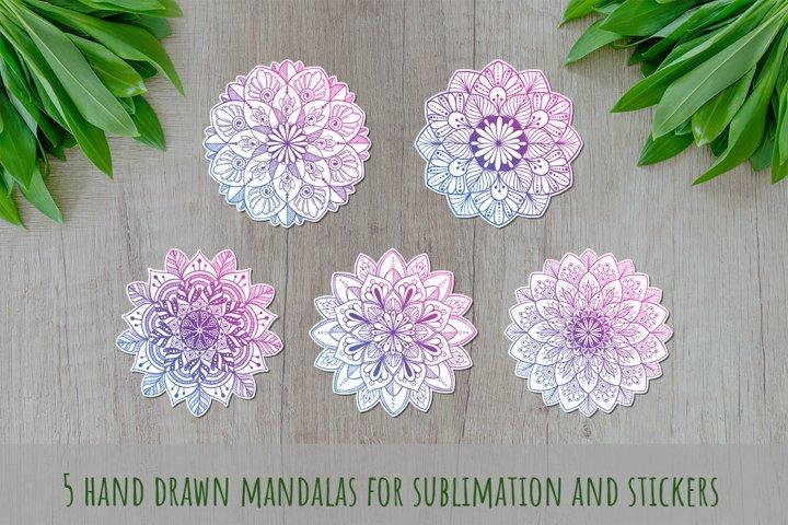 Mandalas set SVG, Boho stile cut file, Print and Cut Stikers