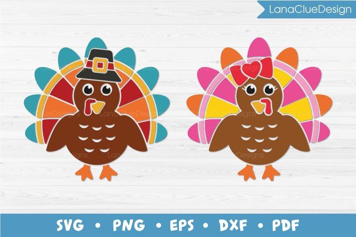 Boy Turkey and Girl Turkey SVG Cut Files - 2 items