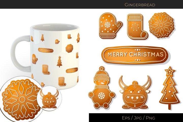 Merry Christmas. Vector gingerbread cookies