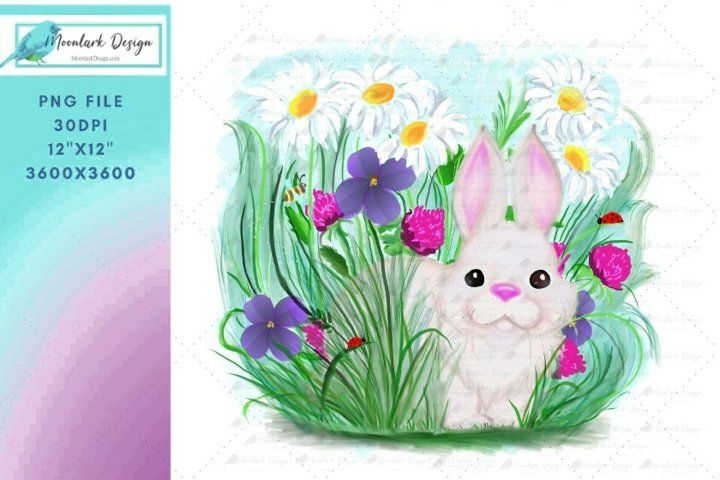 Spring Bunny in clover and daisies PNG for sublimation