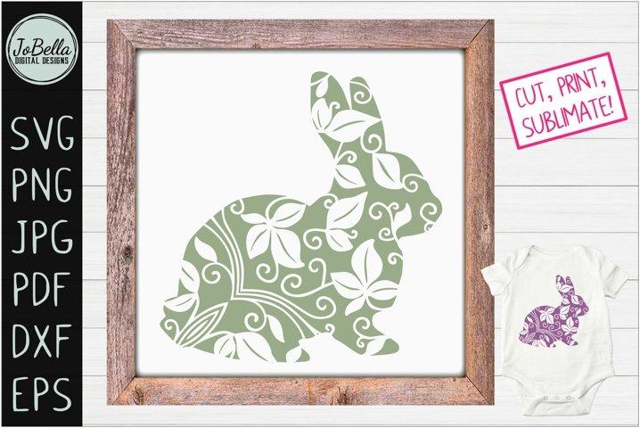 Zentangle Easter Bunny SVG, Printable & Sublimation PNG