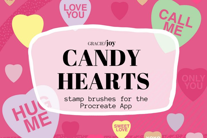 Candy Hearts Procreate Stamp Brush