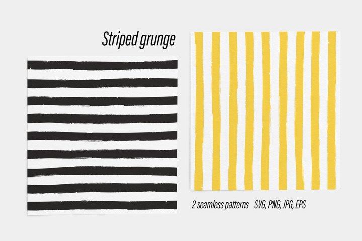 Striped grunge seamless patterns black yellow SVG PNG JPG EP
