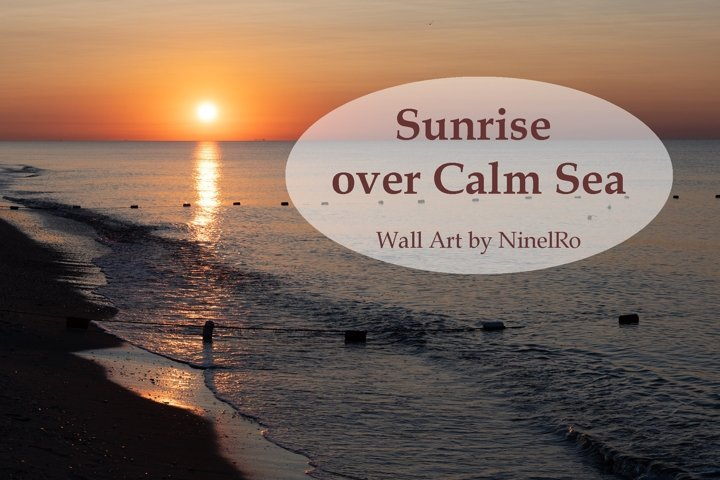 Breathtaking sunrise over calm sea beach. Photo Wall Art