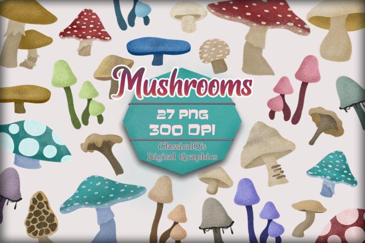 Fall Mushrooms Clip Art