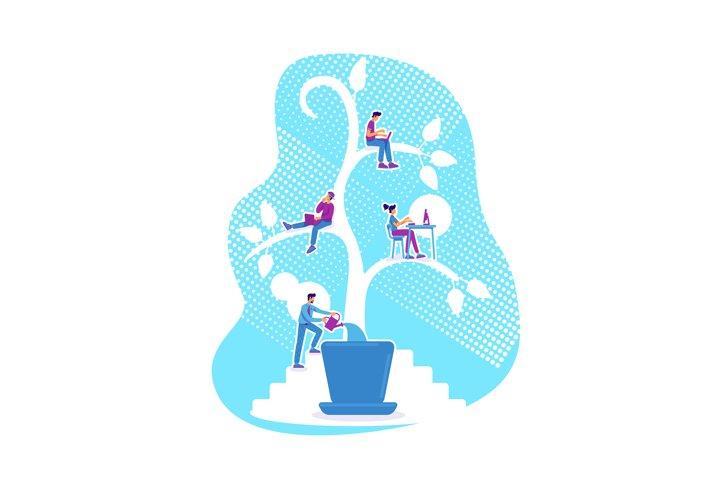 Students education flat concept vector illustration