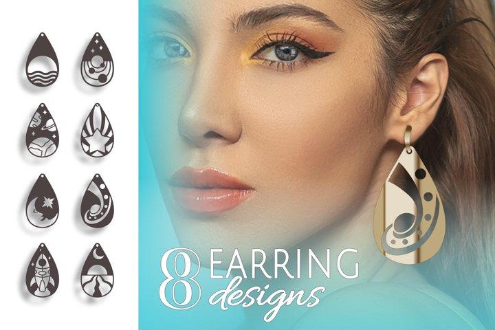 8 Moon necklace, Drop earrings, Star necklace, Sun jewelry