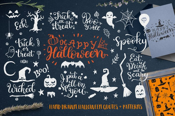 Happy halloween photo overlays and patterns doodle set