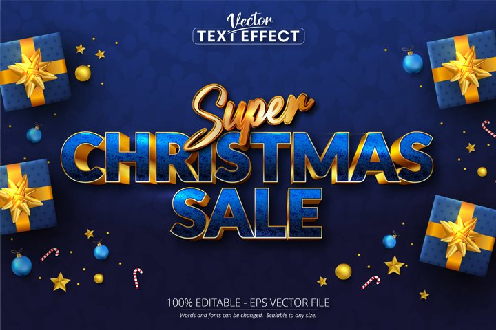 Super christmas sale text, golden color style text effect