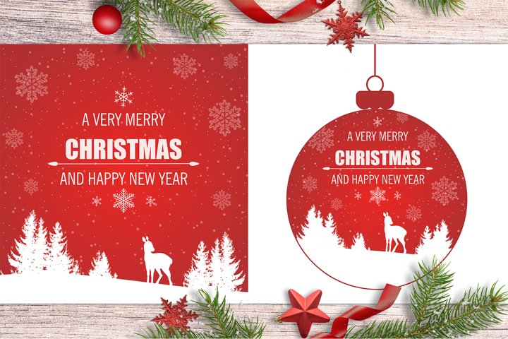 Red Christmas Backgrounds with Deer