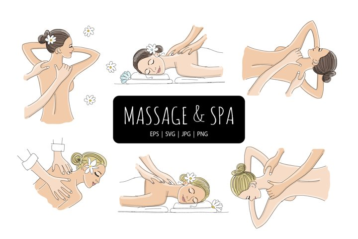 Spa and Massage treatment. Vector illustration set
