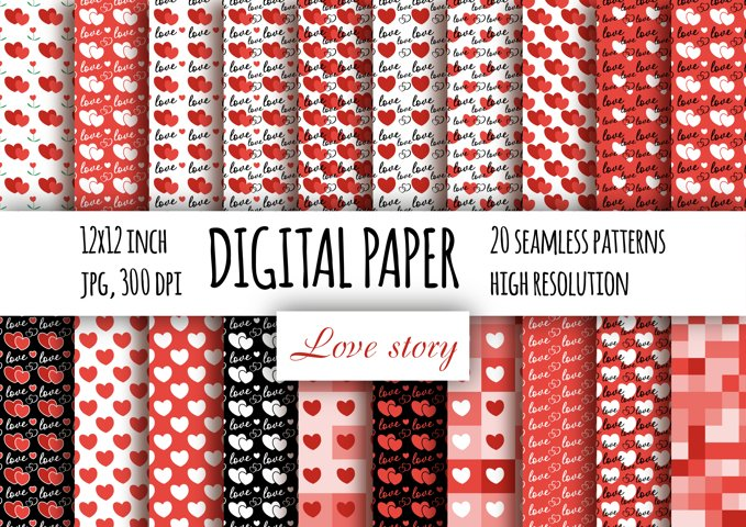 Love Story digital paper pack