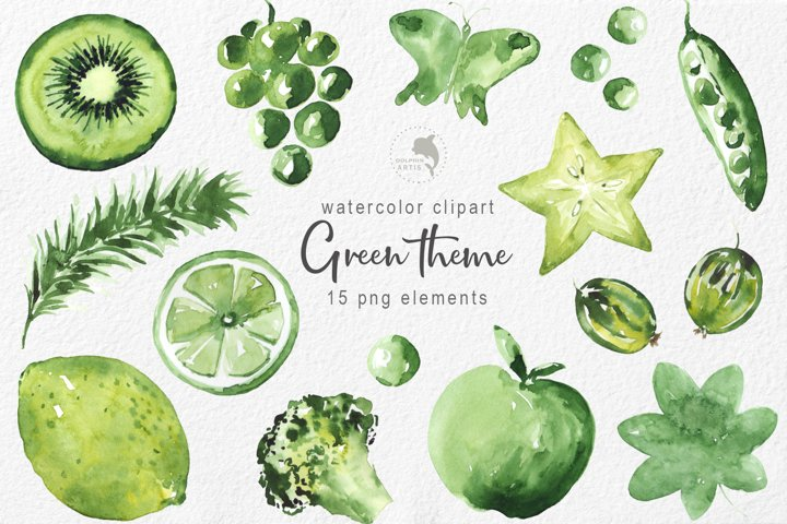 Green theme watercolor