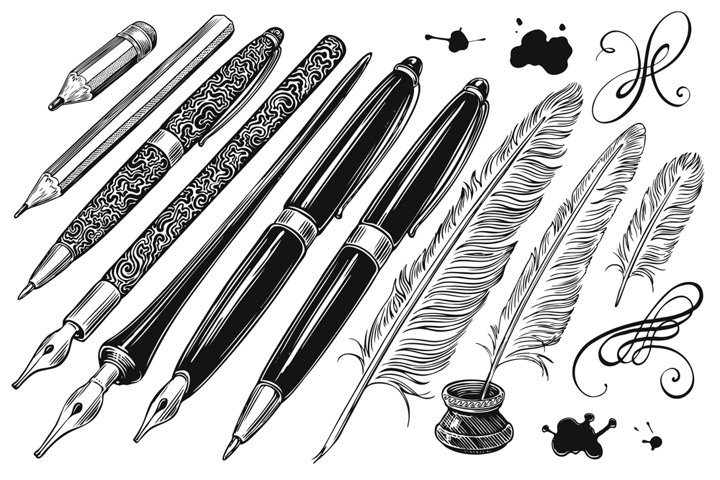 Pencils and pens. Hand drawn illustration. Vector engraving.