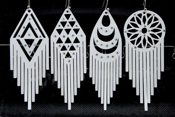8 Fringe earrings, Tassel necklace, Geometric earrings SVG