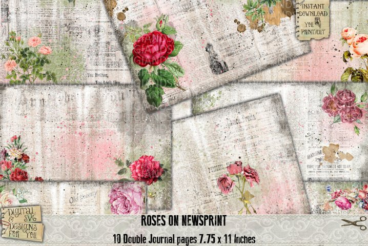 Newspaper Roses | Newspaper Junk Journal | Printable paper