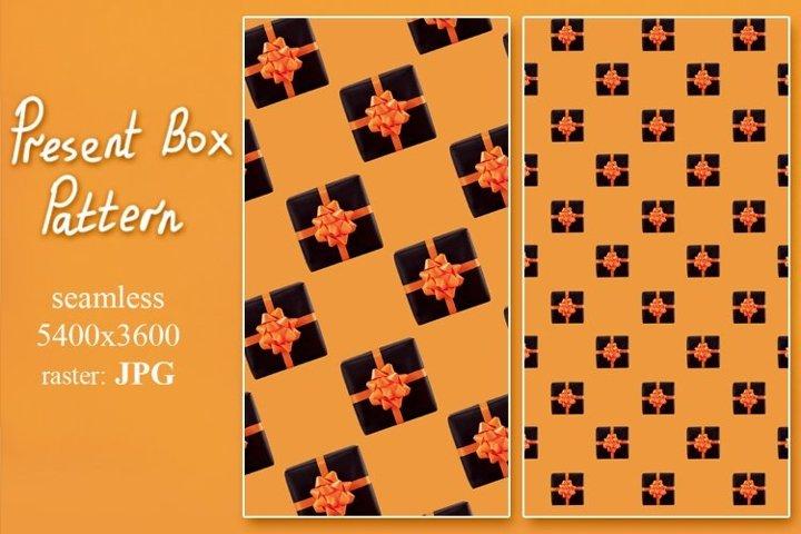 Present box pattern is created of blak gifts on orange.