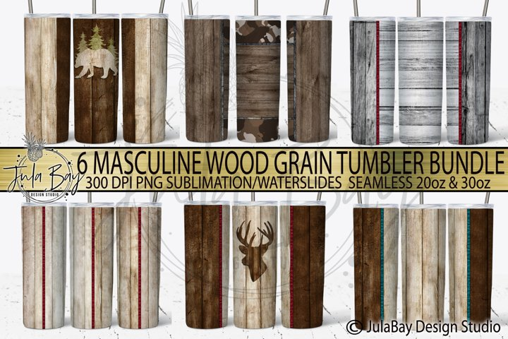 Masculine Skinny Tumbler Design Bundle Wood grain PNG SUB