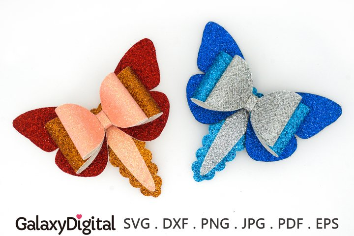 Butterfly Snap Clip SVG, Hair Bow Clip Cover Template SVG