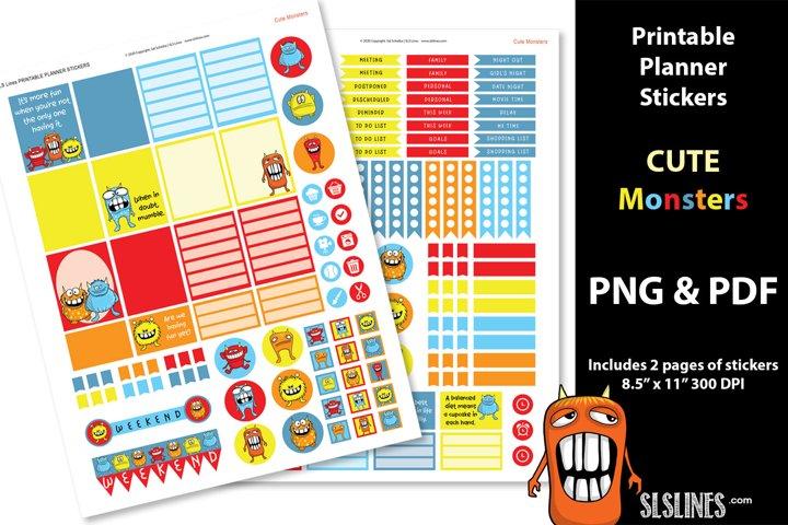 Printable Planner Stickers - Cute Monsters