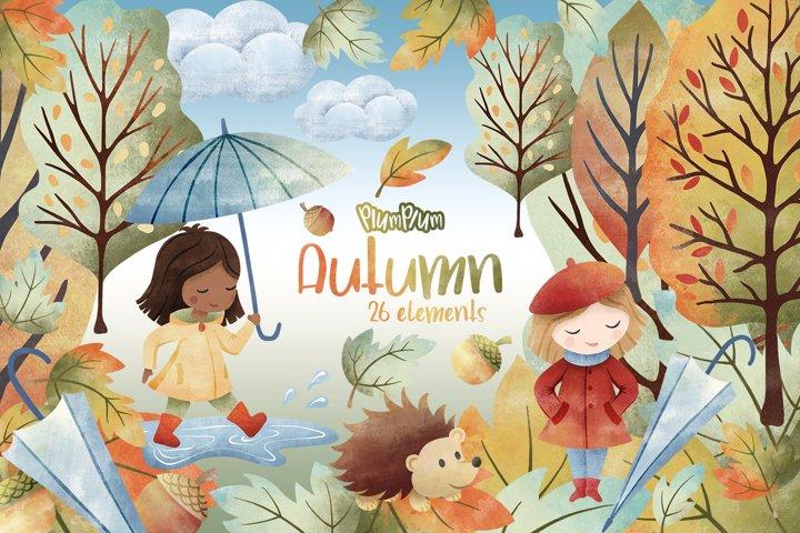 Autumn Watercolor Cliparts