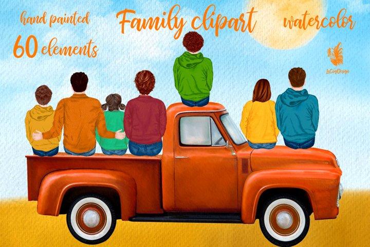 Autumn clipart Family clipart Truck clipart Fall clipart