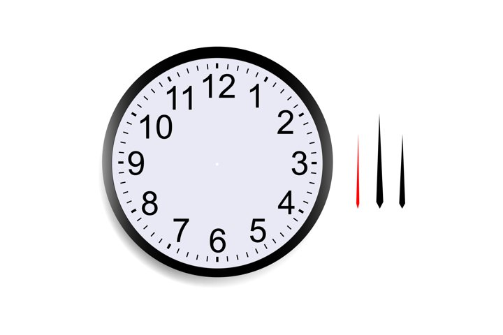 Blank round clock face with hour, minute and second hands