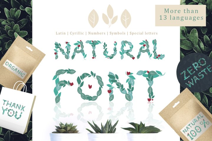 Natural Font - alphabet from leaves