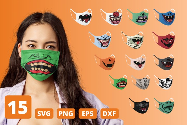 15 HALLOWEEN FACE MASK SVG PATTERN, funny mouth cricut svg