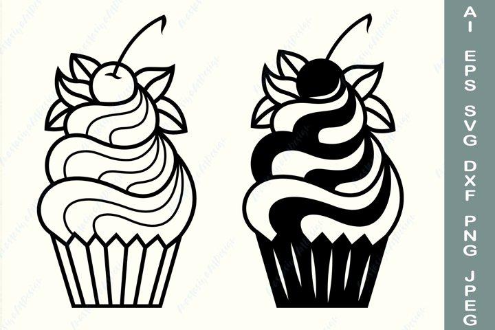 Cupcake svg, Birthday cupcake svg, Baking svg, Dessert svg