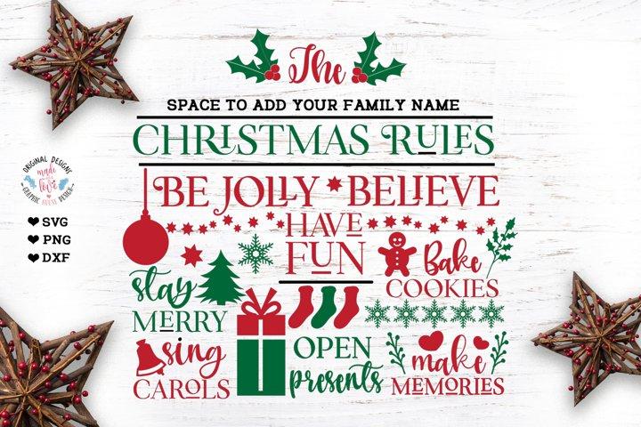Christmas Rules Custom Family Last Name Sign