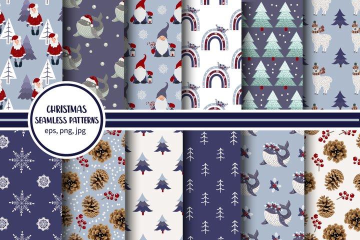 Christmas seamless patterns pack. Printable digital papers