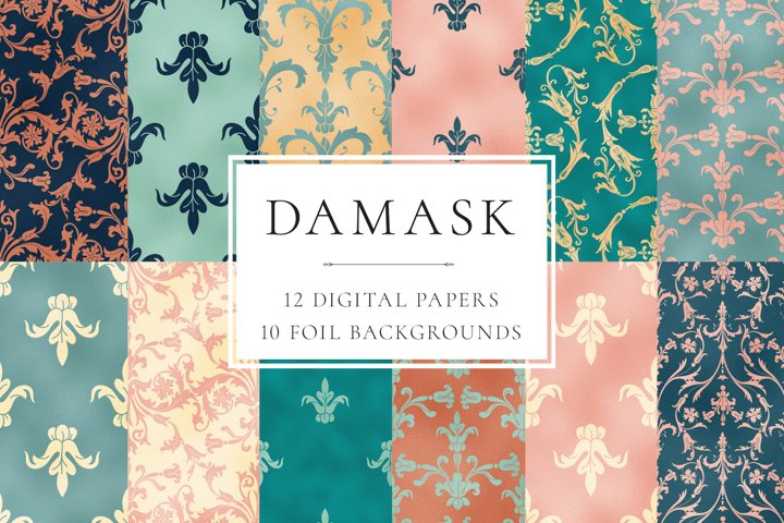 Damask Seamless Patterns and Foil Backgrounds