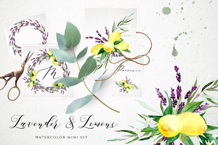 Lavender and Lemons Watercolor Set