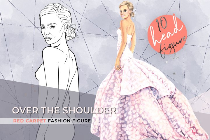 Over the shoulder, 10 heads fashion croqui template