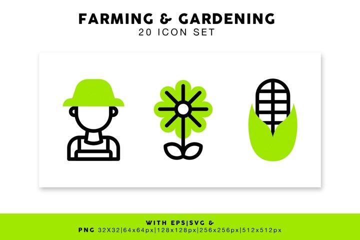 Farming and Gardening Icon Set