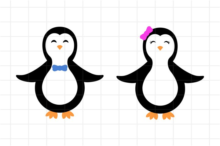 Penguin SVG, Cute Baby Girl and Boy Penguins Cut File