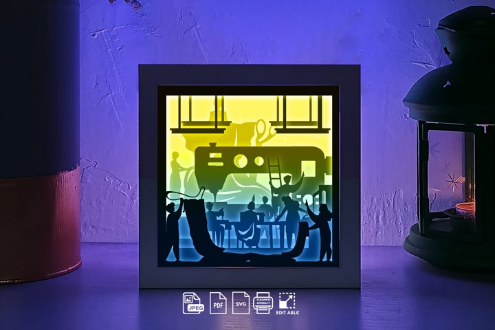 #217 Garment 3D paper lightbox Shadow box, die cut