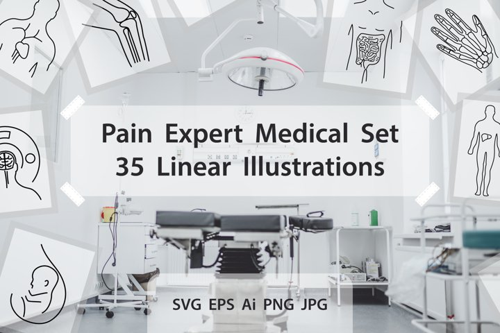 Pain Expert Medical Set - 35 items SVG EPS Ai PNG JPG