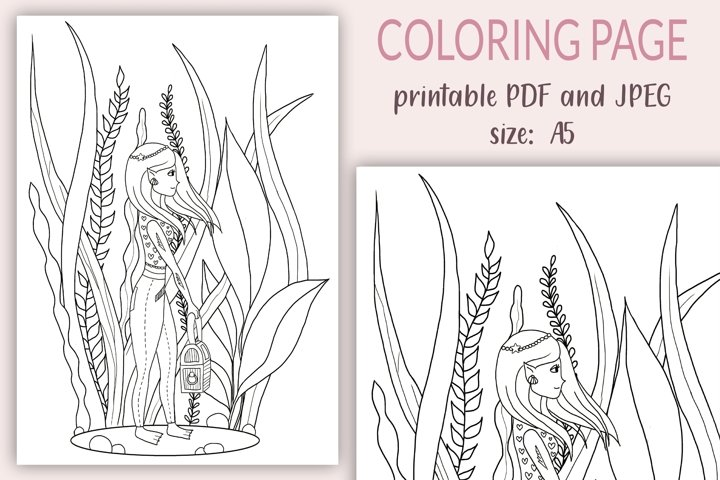 Coloring Pages for Kids, Underwater Girl coloring page, PDF