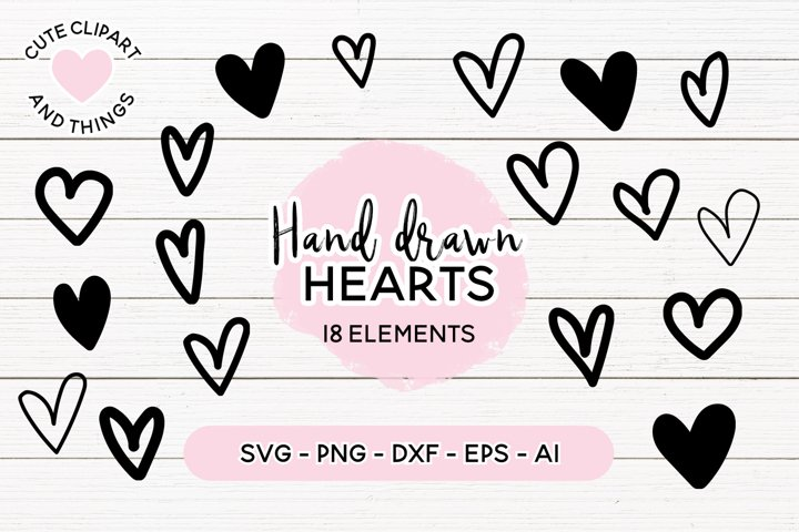 Heart SVG | Hand Drawn Hearts SVG Set | 18 Elements